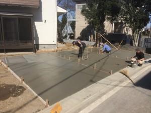 東松山市外構工事 車庫コンクリート打設