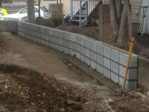 東松山市外構工事東側ブロック完成1