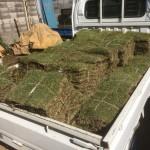 滑川町のお庭工事 芝張り完了、東松山市の外構追加工事 門袖積み 完了