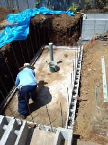 所沢池工事型枠ブロック積み