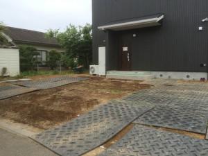 東松山市の新規外構工事 着工、東松山市外構造園工事 コンクリート打設